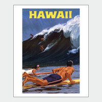 Surfing In Hawaii Vintage Travel Poster Print