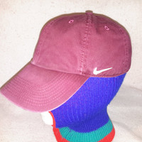 Vintage Nike Maroon dad hat cloth strapback hat cap Air max unstructured