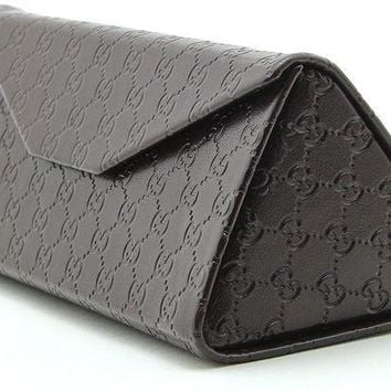 ONETOW Gucci Tri-fold Leather Glasses Sunglasses Case w/Cleaning Cloth, Large