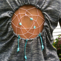 Grey pink and blue Dreamcatcher shirt by Handspunhomegoods on Etsy