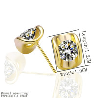 Best Friends jewerly 18K Gold Plated Earing Ingot stud earrings brincos SMTPE268 MP
