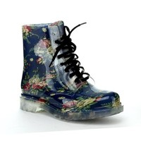 EASOS GEAL STU02 Women's Fashionable Lace-up Jelly Ankle High Martin Rain Boots