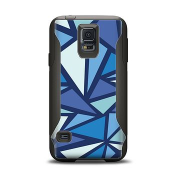 The Large Vector Shards of Blue Samsung Galaxy S5 Otterbox Commuter Case Skin Set