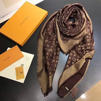 LV Louis Vuitton Popular Women Men Smooth Cashmere Warm Cape Scarf Scarves Shawl I