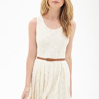 FOREVER 21 Belted Crochet Lace Dress