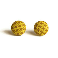 Houndstooth Print in Mustard Yellow and Brown Fabric Covered Button Earrings