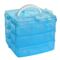 Creative Clear Four Colors Plastic Craft Beads Jewellery Storage Organizer Compartment Tool Box Case Happy Gifts High Quality PP