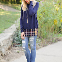 Isabella Crew Neck Sweater with Plaid Inset Split Back : Navy