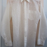 70s White Slim Floral Sheer Lace Shirt by Story, Men's M // Vintage Long Sleeve Hippie Dress Shirt