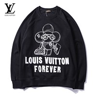 LV 2018 new embroidered round neck pullover men and women long-sleeved sweater Black