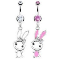 316 L Surgical Steel Cute Bunny with Paved Gem Belly Ring- Pink- Sold Individually