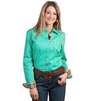 Women's Aqua Stripe w/Plaid Trim Cruel Girl Buttondown Shirt