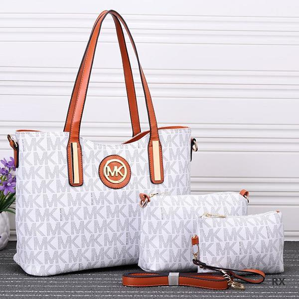 Image of M K Lash package Woman shopping leather metal shoulder bag White
