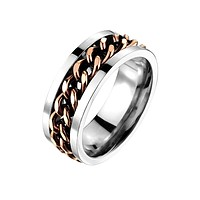 Big Shot - Solid Titanium with IP Coffee Chain Inlay Bold and Bright Style Band