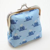Whale Coin Purse, Handmade Vegan Wallet, Light Blue and Navy