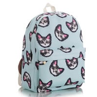 Blue Kitten Print Backpack