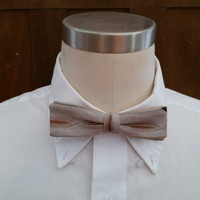 Vintage Mid Century Pattern Brown Wembley Clip On Bow Tie