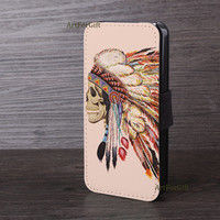 Leather cover, iPhone 6 case, Indian chief, The skull feather, iPhone 5S case, Samsung S5, Leather Phone Case, iPhone 6 plus,Phone case-096