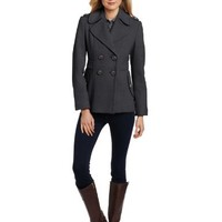 Kenneth Cole New York Women's Short Double Breasted Wool Peacoat