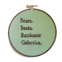 TV Quote Embroidery Hoop - Light Green Home Decor Wall Art