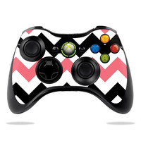Skin Decal Wrap for Microsoft Xbox 360 Controller sticker Black Pink Chevron
