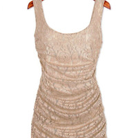 Golden Sleeveless Floral Lace Ruched Bodycon Dress