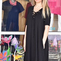 Black strappy tunic dress with pockets