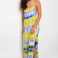 Yellow and Green Tye Dye Maxi Dress