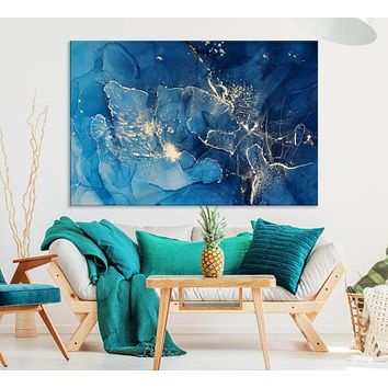 Large Abstract Wall Art Blue Marble Canvas Print