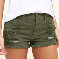 Cut-Off the Map Olive Green Distressed Jean Shorts