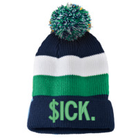 $ick Striped Beanie with Removable Pom