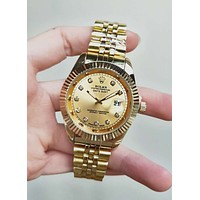 Rolex Stylish Women Men Retro Diamond Quartz Watch Movement Wristwatch Golden I/A