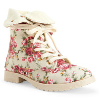 Floral Lace-Up Boot