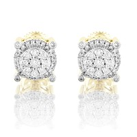 10k Gold Round Prong Micro Pave Real Diamonds Studs Earrings