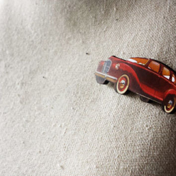 Retro Car Illustration Wooden Brooch -Handmade Laser Cutted Vintage Pin/ Fifties style / 50's fashion / Rockabilly accessories/ Gift for Him