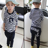 Baby boy clothes Spring Kids Clothes Navy Long Sleeve Pullover Sports baby girl clothes Hot Sale 2017 Casual Boys Clothes Set