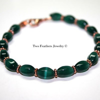 Emerald Green Bracelet With Solid Copper - Dark Green And Copper Bracelet - Bridesmaid Gift - December Wedding - Christmas Gift For Her