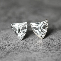 Masquerade Mask Earrings, Sterling Silver Mask Stud Earrings, cute earrings, studs earrings, silver Jewelry, gifts for her