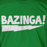 Bazinga Lightning Bolt Geek Nerd Science School Chemistry Screen Printed T-Shirt Mens Ladies Womens Youth Funny Geek Yoga Gift