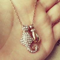 YAN & LEI Alloy Necklace Rose Golden Color of Cute Cats