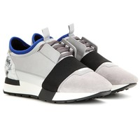 Indie Designs Balenciaga Inspired Race Runners Marble Paneled Low-Top Sneakers