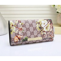 Gucci Fashion Women Leather Letter Flower Print Purse Wallet I