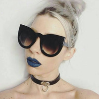 Oversized Tortoise Cat Eye Sunglasses Round Cateye Retro Glasses - Kitty