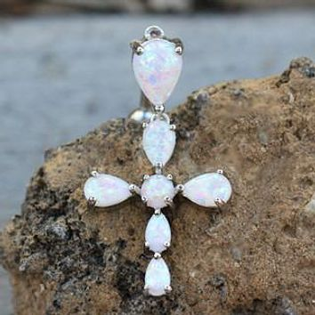 316L Stainless Steel White Synthetic Opal Cross Top Down Navel Ring