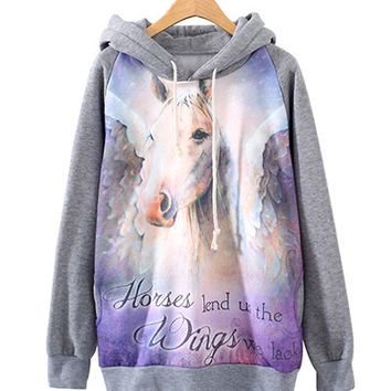 Grey Winged Horse Print Hoodie Jacket