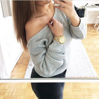 Off Shoulder Pullover Knit Loose Pure Color Sweater