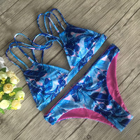 Leaves Design Bikini Set