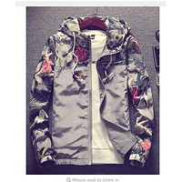 Floral Bomber Jacket Men Hip Hop Slim Fit Flowers Jackets Plus Size 4XL , PA571