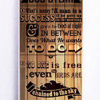 Bob Dylan Quotes On Wood for Iphone 5 / 5s Hard Cover Plastic