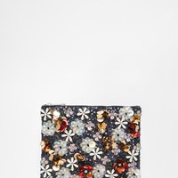 ASOS Co-ord Flower Embellished Sequin Clutch Bag
